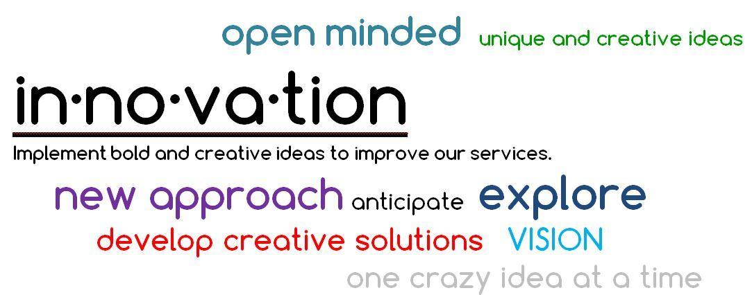 Innovation definition is implement bold and creative ideas to improve our services.