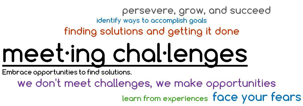 Meeting Challenges definition embrace opportunities to find solutions.