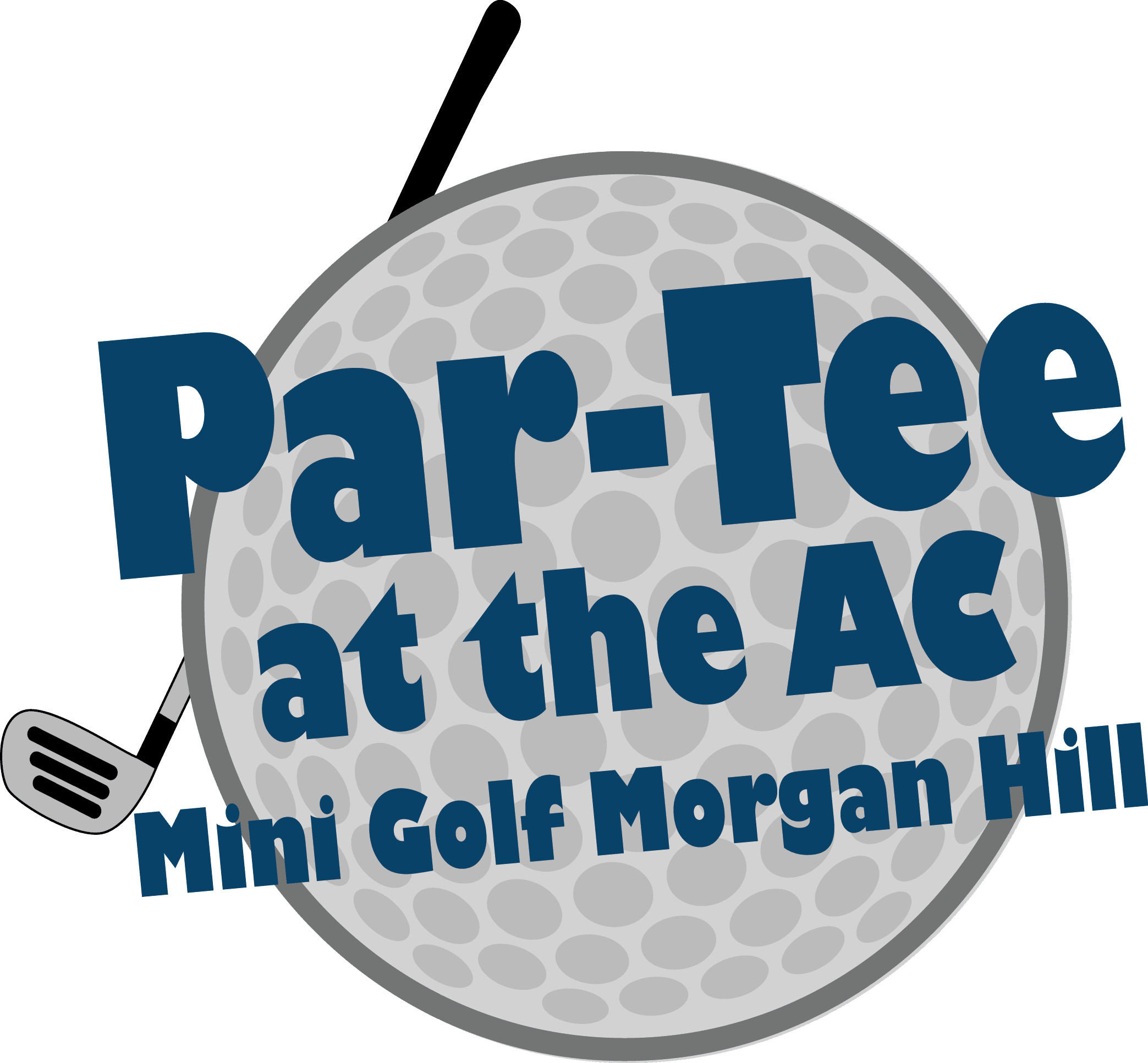 Logo with golf ball and putter for mini golf
